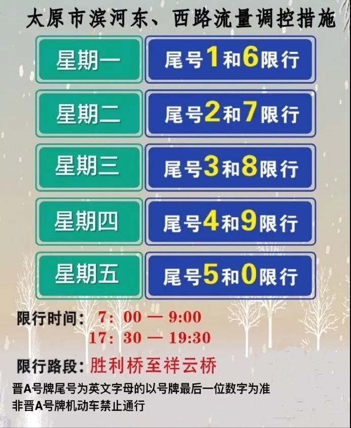 明天!太原滨河东西路限行开始!